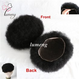 Wholesale 1b Curly Afro Wig - Lumeng Human Hair Afro Curl Men Toupee 8x10inch All Lace Hair Systems Piece For Negro Men Hair Replacement Units Free Shipping(1# 1B# Color)