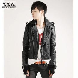 Wholesale Genuine Leather Biker Jacket - Wholesale- Men Outerwear Short Coat Rider Korea Stylish PU Leather Jacket Cool Biker Slim Zipper Mens Jackets Turn Down Collar PU Jackets