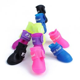 Wholesale Waterproof Dog Boots - PVC Non Slip Pet Rainshoes Waterproof Puppy Cat Rain Boot Candy Color Dog Boots 5 6tt C R