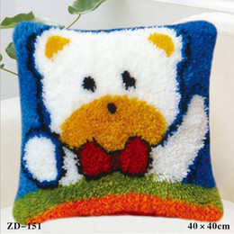 Wholesale Embroidery Linen Cushion Cover - Home Textiles Pillow Case Cartoon Animals Printed Cushion Cover Cotton Linen Pillow Cover Festival Gifts Diy Home Sofa Decoration White Bear