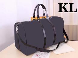 Wholesale leather gym bag duffle - KEEPALL BANDOULIÈRE Genuine Leather Luggage Mens Travel Bag Weekend Duffle bag Luxury Brand Bag Carry On GYM Handbag 45 50 55CM