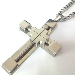 polished stainless necklace cross Promo Codes - Gift for Men's Highly Polished Stainless Steel Wire Cross Pendant and 5MM Curb Cuban Link Chain Necklace 18-32 inch Large