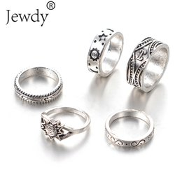 Wholesale Antique Jade Rings - 5PCS Vintage Rings Set for Women Fashion Sun&Stars Midi Knuckle Ring Set Bohemian Antique Silver Color Statement Jewelry Party