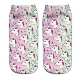 Calzini 3D bambini Calzini corti in cotone Multi adorabili capi di unicorno Immagine Primavera Estate Lunghezza caviglia bassa 19cm da gambali bambino giallo fornitori