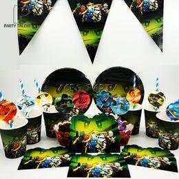 Canada Articles de fête 73pcs pour 12kids Ninjago thème décoration de fête d'anniversaire ensemble, assiette + tasse + paille + bannière + invitations + topper cheap invitation sets Offre