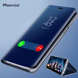 custodia in pelle smart phone Sconti Clear View Smart Mirror Custodia per telefono per iPhone X Xs XsMax Xr 8 7 6 Plus Custodia per cellulare