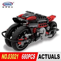 Wholesale motorcycles model - Xingbao 03021 680Pcs Technic Series Off-road Motorcycles Building Blocks Bricks Educational Toys Boy Gifts Model