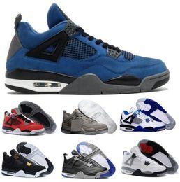 Wholesale Womens Christmas Tops - Top 4 Basketball Shoes Mens Womens Black 4s kaws Cement Eminem Alternate Motorsport Bred Royalty Toro Bravo Pure Athletic Sneakers Shoe Sale