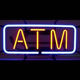 "Wholesale commercial dispenser - ATM Neon Sign Cash Dispenser Custom Handcrafted Real Glass Tuble Bank Advertisement Display Neon Signs 17""x8"""