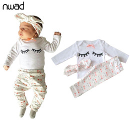 Wholesale Newborn Neck Tie - NWAD Newborn Baby Girl Summer Clothes Set eyelash print Bow tie Baby Clothes Girl Outfit Tops+Pant+Headband 3pcs sets FF223