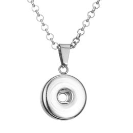 slide snap button Promo Codes - NOOSA Snap Button Charm Fit 18 20mm Ginger Snaps Pendant Necklace Jewelry with Stainless Steel Chain genuine Leather chain