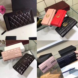 Wholesale Large Black Evening Bag - Famous Brands Women Lambskin Quilted Long Clutch And Purse Classic Gold-toe Flap Bags Large Leather Wallet Evening Money Bag