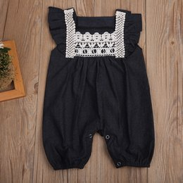 920cafd5231 Solid dark color romper newborn infant baby girls sleeveless jumpsuit  sunsuit bodysuit comfy lace kid clothing summer boutique 0-24M