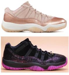 Rosas de bronze on-line-Nova 11 Low Rose Gold Metálico Bronze Mulheres Sapatos de Basquete 11 s Baixa Rook Para Rainha Acho que 1 Preto Fúcsia Blast Sneakers Com Caixa