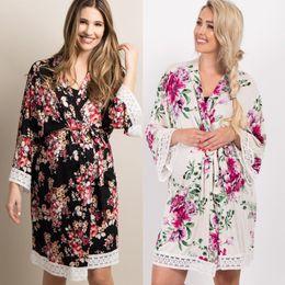 Беременный сон онлайн-Pregnant Women Nightwear Long Sleeves Bandage Robes Autumn Floral Maternity Sleepwear Sleep Dress