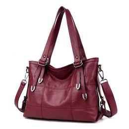 Wholesale Big Messenger Bags - New 2017 Fashion PU Leather Women Messenger Bags Ladies Big Casual Shoulder Bags Brand Woman Handbags Bolsa Feminina Preta Sac