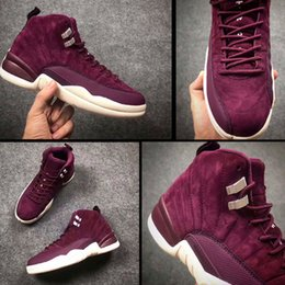 Wholesale Wine Red Boots - 2017 Retro 12 Bordeaux Suede Men Women Basketball Shoes High Quality 12S XII Wine Red Outdoor Trainers Sneakers Boots Size36-47