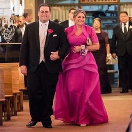 Formale röcke jacken online-Fuchsia Mutter der Braut Kleider mit Jacke Tiers Rock plus Größe Mutter der Bräutigam Kleider für Frauen Mutter formale Kleider