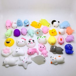 Wholesale Kids Silicone Doll Mini - 10pc lot different models Mochi antistress ball Mini Squeeze Squishy Kawaii doll Squeeze Stretchy Animal Healing Stress kids toy
