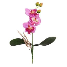 Wholesale White Orchid Heads - 25cm Triple Head Artificial Butterfly Orchid Silk Flower coffee house office Home Wedding Decoration Plastic Cloth flowers cheap