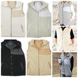 Wholesale Vest Warmer - Women winter Sherpa vest Winter Warm Jacket Sherpa Casual Coat women's vest sleeveless jackets vest LJJK875