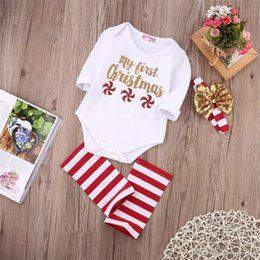 Wholesale Santa Headbands - 3Pcs Kid Toddler Outfit White Romper+ Striped Leg Warmer+Headband Baby Clothes My First Christmas Red Little Windmills 0-24M Santa Gift B11