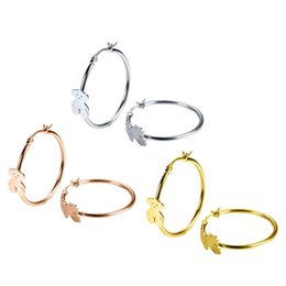 Wholesale hoops for girls - Trendy women Jewelry 3 Colors Stainless Steel big circle hoop women stud bears earring featured product Party jewelry gift for girl and lady