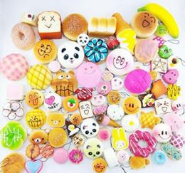 lindos celulares pequeños Rebajas 10 Unids set Pequeño Lindo Pan Decoración Del Teléfono Celular Al Azar Squishy Suave Panda Pan Pastel Bollos Teléfono Correas Colgante