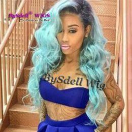 Frente peluca de encaje sintético ombre negro azul claro 26 pulgadas 150% cabello completo pelucas cordón peluca raíces oscuras 3 pulgadas pelucas baratas para mujeres desde fabricantes