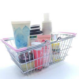 Wholesale Supermarket Shopping Cart Toy - Mini Supermarket Shopping Basket Cart Kids Toy Desktop Cosmetic Sundries Organizer Iron Storage Box Bins 3 Size HH7-919
