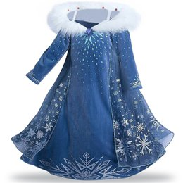 Wholesale Wedding Clothes For Girls - Kids Dress Girls Winter Princess Dress Wedding Party Dress Party Cosply Clothing Blue Color 3 Style for 1~8 Y