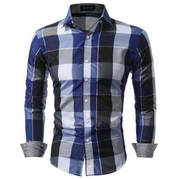 Wholesale large mens dress shirts - Men Shirts Fit Mens Dress Plaid Shirts Male Clothes Social Casual Shirt Men Brand Chemise Homme Large Size Xxxl