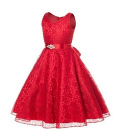 Wholesale Teen Knee Length Party Dresses - 2018 Summer Girls Dress Children's Clothing Party Princess Baby Kids Girls Clothing Wedding Dresses Prom Dress Teen Costume