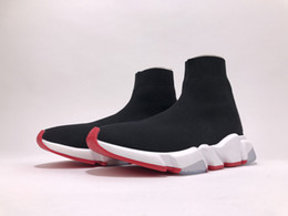 Wholesale Top High Cut Shoe Brands - With Box 2018 Mens and Womens Casual Shoes Stretch Mesh High Top Sneaker Black Red for Men Brand Designer Euro 36-46