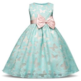 Wholesale Wholesale Ball Gown Prom Dresses - Fancy Butterfly Kids Girl Wedding Flower Girls Dress Princess Party Pageant Formal Dress Prom Little Baby Girl Birthday