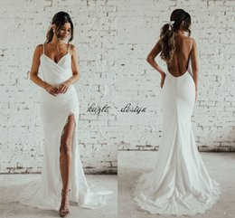 Wholesale Winter Holidays - Simple Desigin Katie May Beach Mermaid Wedding Dresses with Slit 2018 Full Lace Spaghetti Backless Holiday Garden Bridal Dress Cheap