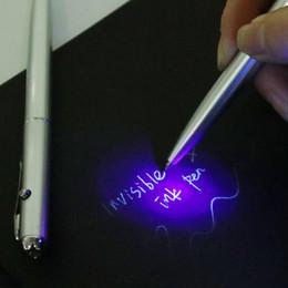 Canada Matériel en plastique Invisible Stylo Stylo À Bille Nouveauté Stylos Nouveau Bureau Fournitures Scolaires Avec UV Lumière Magique Secret Ballpoin Offre