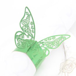 Wholesale Green Napkin Rings - Paper Napkin Rings Laser Cut Design paper napkin Holder for Wedding Banquet Dinner Party Decoration Favor Butterfly Y10 green