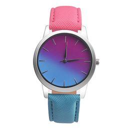 Wholesale Blue Rainbow Design - bayan kol saat Women Watch Quartz Wrist Watch Retro Rainbow Design Casual Leather Band Ladies Bracelet Watches reloj mujer 2017