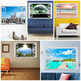 Wholesale blue tree landscaping - Fashion 3D Wall Stickers False Window City Scenery Green Tree Blue Sky Planet Sticker Pink Beach Girl Sea View Paster Popular 6cy B
