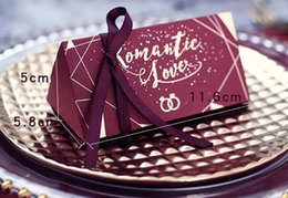 Wholesale Mori Wedding - 2018 Hot Sale Diamond With Ribbon Sugar Box Mori Wedding Box Wedding Carton Wine Red 494