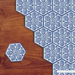 Wholesale Porcelain Tile Wholesalers - 10PCS Set Chinese Style Blue White Porcelain Hexagon PVC Floor Sticker Anti-skid Waterproof Bathroom Living Room Tile Decoration Art Poster