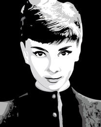 Stampe giclee di belle arti online-Audrey Hepburn Fine Art Giclée Canvas Print Art su tela Wall Art Oil Painting Poster Picture Home Home Decor