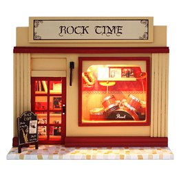 Wholesale Doll Furniture Craft - 2016 Miniatura Home Decoration Crafts Diy Doll House Wooden Houses Miniature Dollhouse Furniture Kit Room Led Lights Gift C07