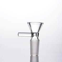 sellos de goteo Rebajas Diapositiva seca del tabaquismo del arco del vidrio de Dogo que fuma para el bong y los tubos de cristal 14mm 18m m Cuenco de cristal común masculino con la manija