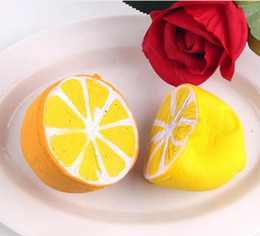 Wholesale Doll Phones - New Jumbo Squishy lemon Kawaii Squishy Cute fruit Slow Rising Decoration Phone Strap Pendant Squishes Gift toys doll