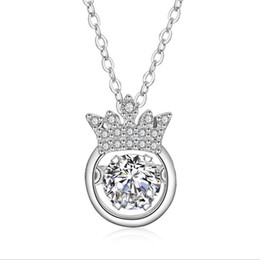 Wholesale Crowned Heart Pendant Necklace - Cross-country exclusive for the Crown pendant women Europe and the United States Best selling 925 Silver-plated for heart enthusiasts micro-