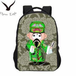 Bolsa de dibujos animados de china online-Hynes Eagle Brand Fashion Beijing Opera Design Mochilas Niñas 3D Cartoon Bag Niños Shoulder Bag Boys Casual Bookbag