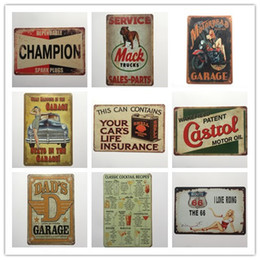 Ruta 66 decoracion online-Cocktail Champion Castrol Route 66 Garage retro rústico cartel de chapa decoración de pared Vintage cartel de la lata Cafe Shop Bar decoración del hogar
