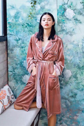 Robes de demoiselles d'honneur coréens en Ligne-Casual robes de mariée pour les femmes lâche manches longues automne hiver robes de demoiselle d'honneur peignoir peignoir Kimono Robe Badjas coréen nouveau